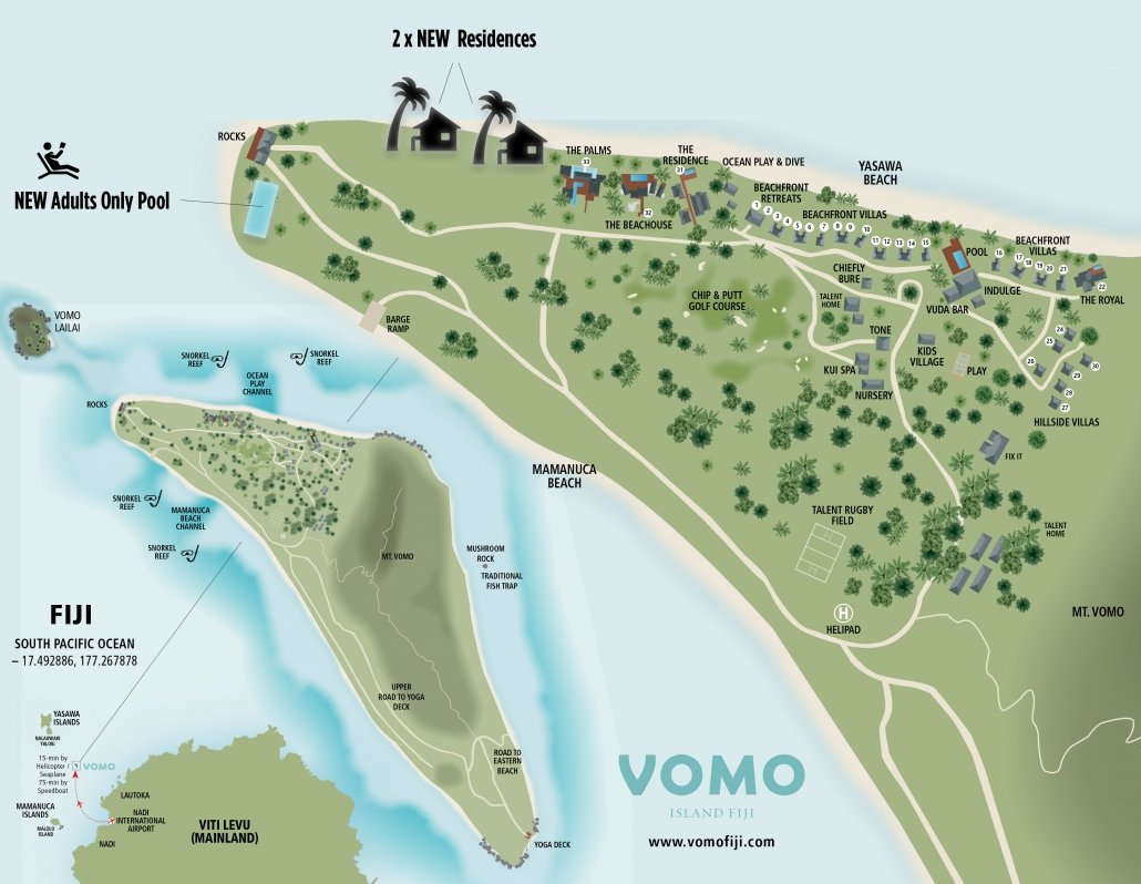 Vomo Resort Map With New Residence And Adults Only Pool Locations