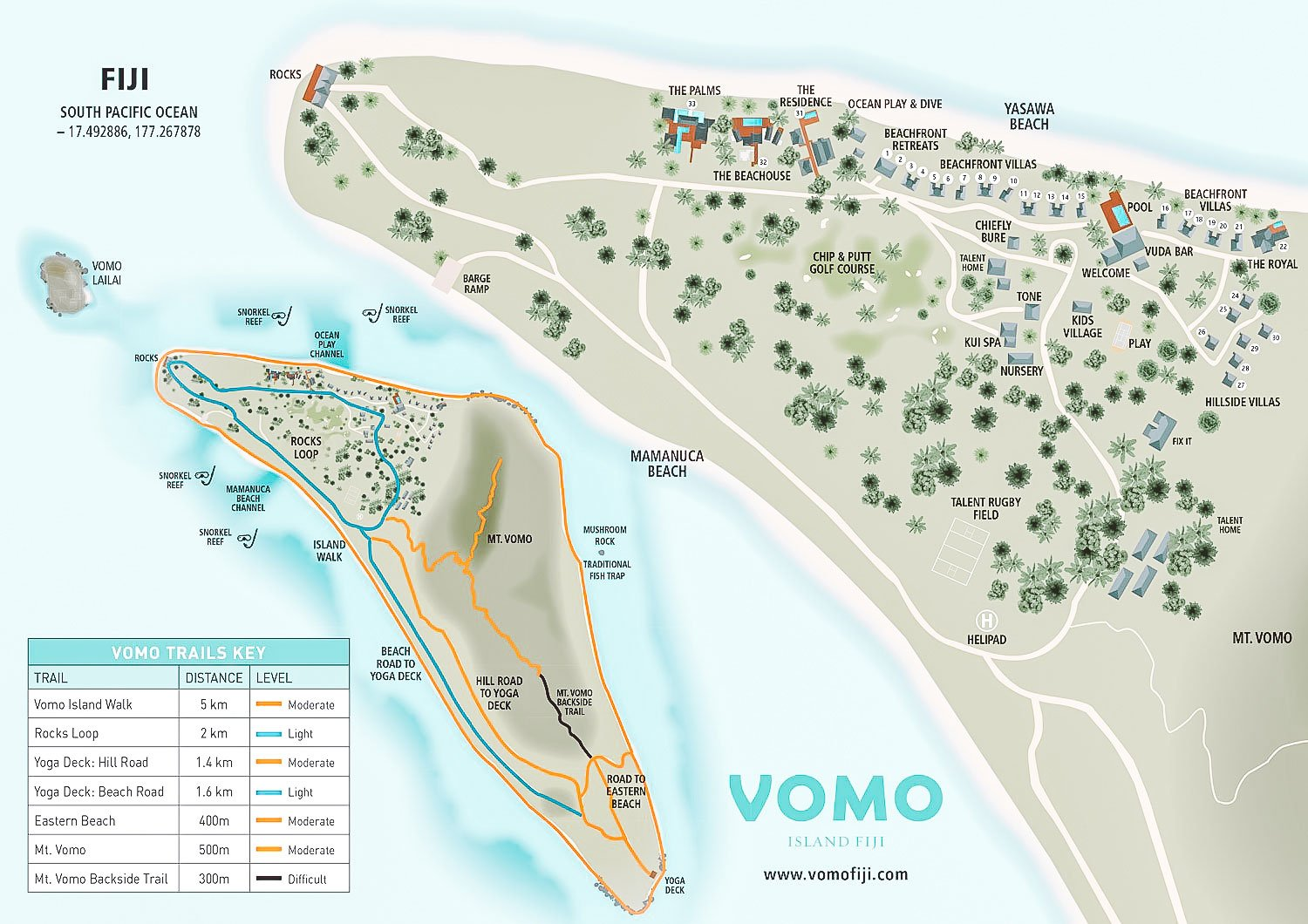Vomo Map Showing Walking Treks