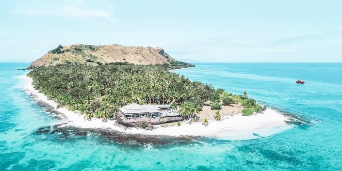 Vomo Island Fiji Resort Aerial View Looking To Rocks Bar