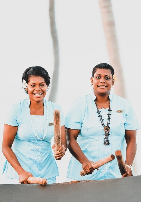 Vomo Island Resort Fiji Luxury Fiji Resort Staff Playing Lali Drum