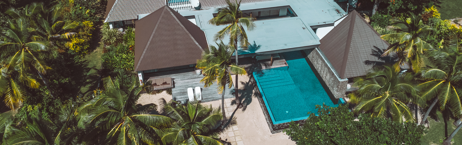 The palms residence holiday house on vomo island fiji aerial of main buildings and pool