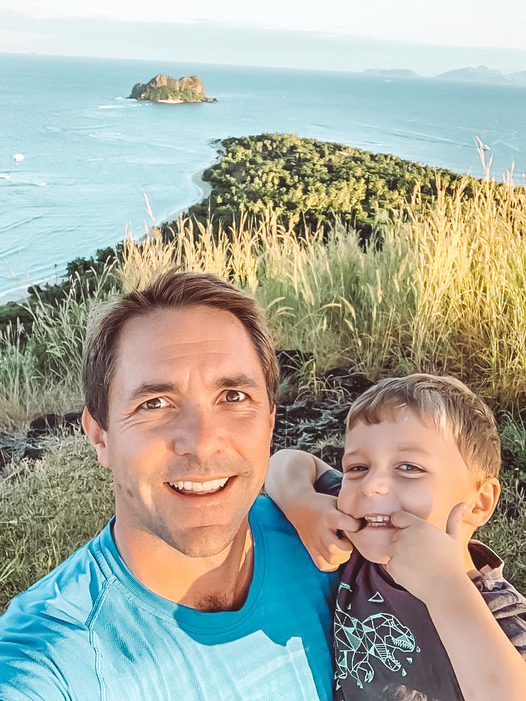 GM Justin King with son Alex on daily hike up Mt VOMO during COVID-19