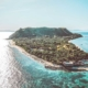 Aerial image of vomo island fiji private luxury island in the south pacific